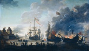 The-Dutch-burn-English-ships-during-the-expedition-to-Chatham-Raid-on-Medway-1667Jan-van-Leyden-1669